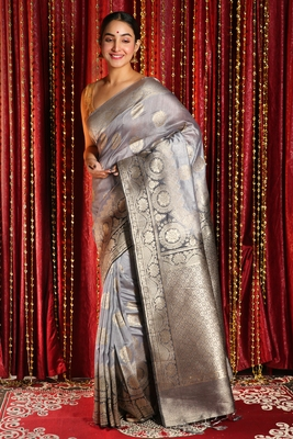 Silver woven tussar silk saree with blouse