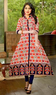 pink cambric block print embroidered  partywear Kurti