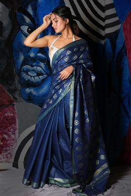 Dark blue woven silk saree with blouse