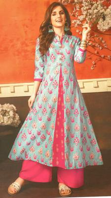 Blue Cambric Block Print Embroidered  Partywear Kurti