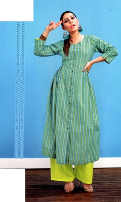 green cambric block print embroidered  partywear Kurti