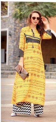 yellow rayon block print embroidered  partywear Kurti