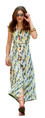 cream rayon block print embroidered  partywear Kurti
