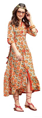 Orange Rayon Block Print Embroidered  Partywear Kurti