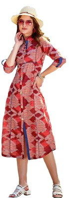 Red Rayon Block Print Embroidered  Partywear Kurti