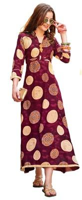 maroon rayon block print embroidered  partywear Kurti