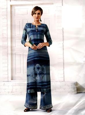 blue rayon block print embroidered  partywear Kurti