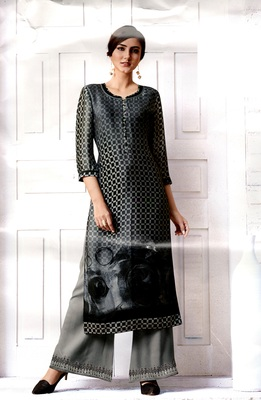 Black Rayon Block Print Embroidered  Partywear Kurti