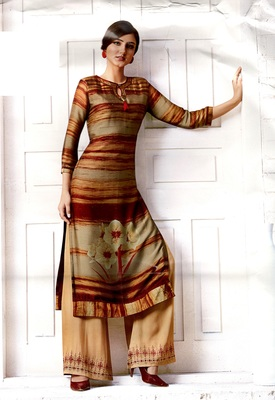brown rayon block print embroidered  partywear Kurti