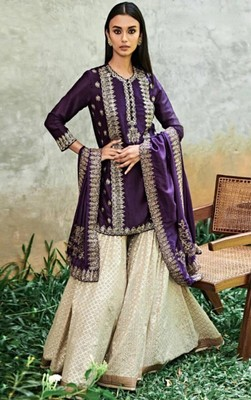 Faux Georgette Partywear Salwar Kameez with Stitched Palazzo