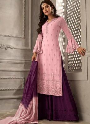 Light-pink embroidered georgette salwar