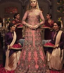 Light-pink embroidered chiffon semi stitched lehenga