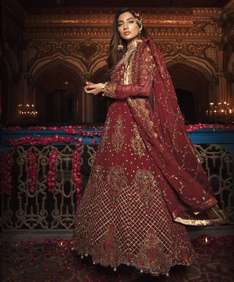 Red embroidered georgette semi stitched lehenga