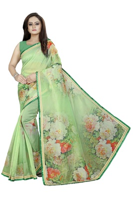 Light Green Color Organza Digital Printed Saree With Blouse