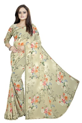 Digital Printed Light Green Color Georgette Saree With Blouse
