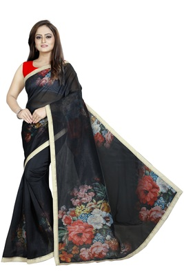 Black Color Organza Digital Printed Saree With Blouse