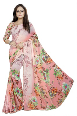 Light Pink Color Digital Printed Georgette Saree With Blouse