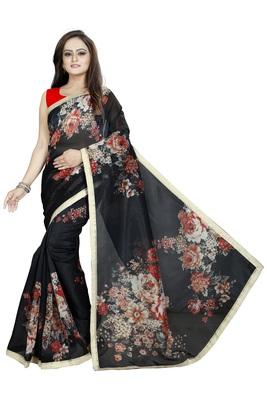 Black Color Digital Printed Organza Saree With Blouse