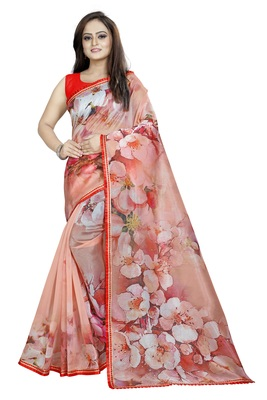 Red Color Organza Digital Printed Saree With Blouse