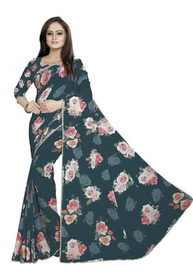 Very Dark Desaturated Blue Color Digital Printed Georgette Saree With Blouse
