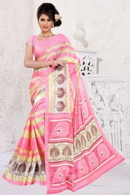 Light pink printed art silk saree with blouse