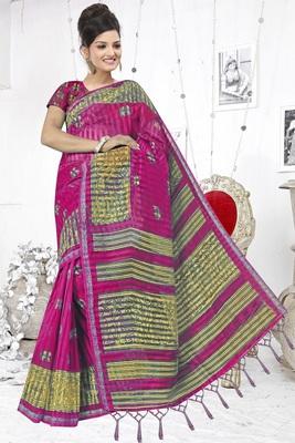Rani pink printed cotton silk saree with blouse
