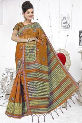 Mustard printed cotton silk saree with blouse