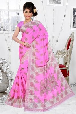 Baby pink printed art silk saree with blouse