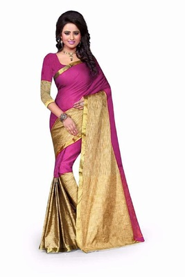 Magenta printed cotton silk saree with blouse