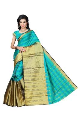 Sea green printed cotton silk saree with blouse