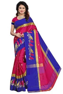 Dark pink embroidered cotton silk saree with blouse