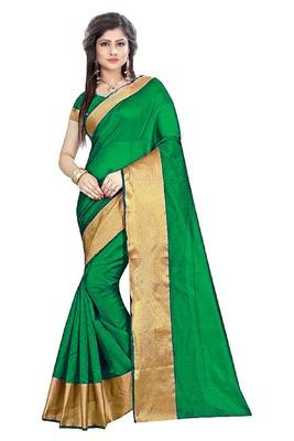 Green plain cotton silk saree with blouse