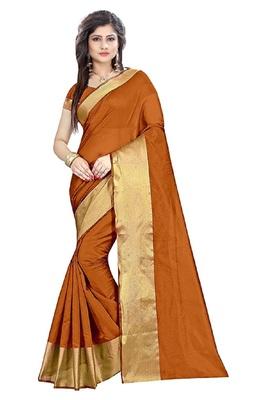 Brown plain cotton silk saree with blouse
