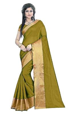 Dark olive plain cotton silk saree with blouse