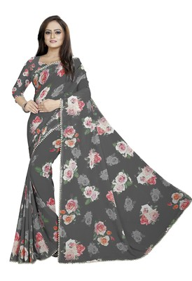 Very Dark Gray Color Digital Printed Georgette Saree With Blouse