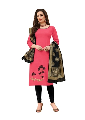 Kimisha Light Pink Cotton Embroidered Unstitched Salwar Suit With Fancy Border & Banarasi Dupatta