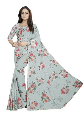Grayish Cyan Color Digital Printed Georgette Saree With Blouse