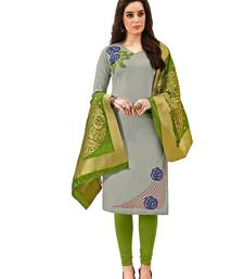 Kimisha Grey  Cotton Embroidered Unstitched Salwar Suit With Fancy Border & Banarasi Dupatta