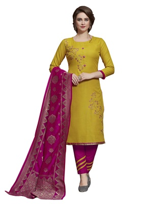 Kimisha Yellow & Pink Slub Cotton Embroidered Dress Material With Banarasi Dupatta