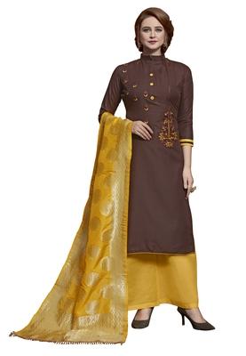 Brown embroidered cotton salwar