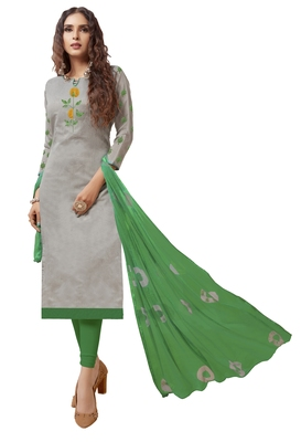 Kimisha Women's Grey & Green Modal Silk Embroidered Dress Material With Laheria Dupatta