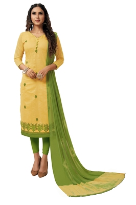 Kimisha Women's Yellow & Green Modal Silk Embroidered Dress Material With Laheria Dupatta