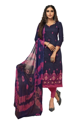 Navy-blue embroidered chanderi silk salwar