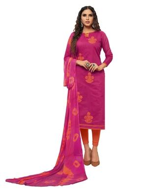 Pink embroidered chanderi silk salwar