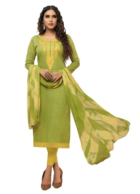 Green embroidered chanderi silk salwar