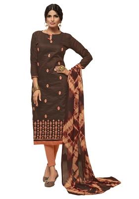 KImisha Women's Brown & Peach Modal Silk Embroidered Dress Material With Laheria Dupatta