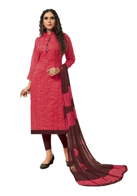 Kimisha Women's Pink & Maroon Modal Silk Embroidered Dress Material With Laheria Dupatta