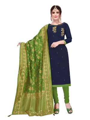 KImisha Women's Navy Blue Slub Cotton Hand Work Dress Material With Banarasi Dupatta