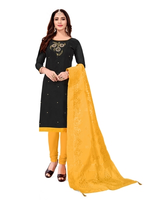 Kimisha Women's Black Slub Cotton Hand Work Dress Material With Banarasi Dupatta