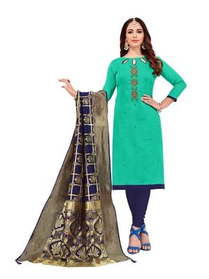 Kimisha Women,s Turquoise Slub Cotton Hand Work Dress Material With Banarasi Dupatta